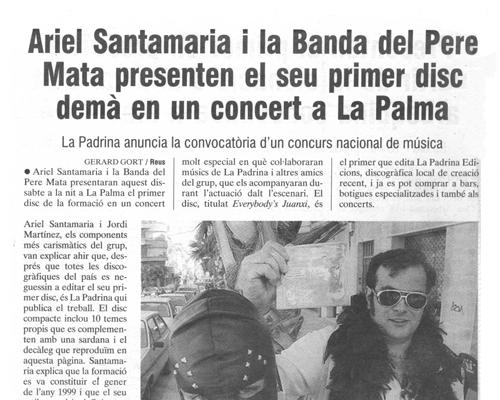 Ariel Santamaria i la Banda del Pere Mata presenten el seu primer disc a la Palma