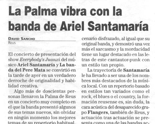 Recull de premsa. 7 d'agost de 2000. Diari de Tarragona
