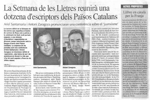 Recull de premsa. 5 d'abril de 2004. Diari de Tarragona.