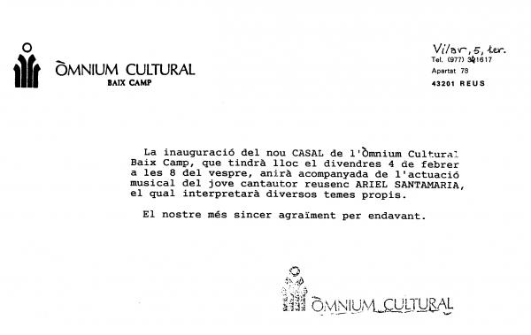 Inauguració del nou casal de l'Òmnium Cultural a Reus