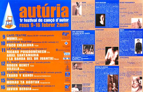 Autúria. 1r. festival de cançó d'autor de Reus