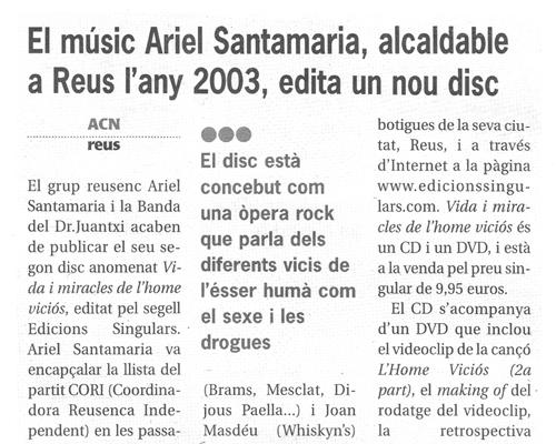 El músic Ariel Santamaria, alcaldable a Reus l'any 2003, edita un nou disc