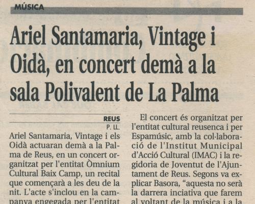 Ariel Santamaria, Vintage i Oidà en concert a la sala Polivalent de la Palma