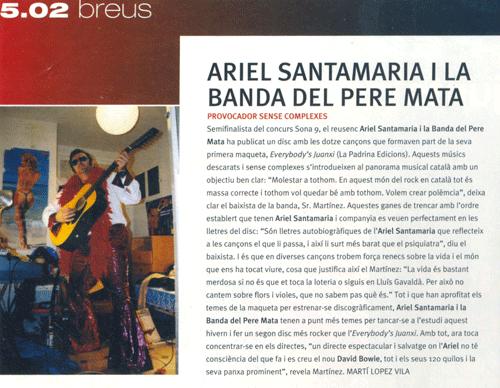 Ariel Santamaria i la Banda del Pere Mata semifinalista del concurs Sona 9